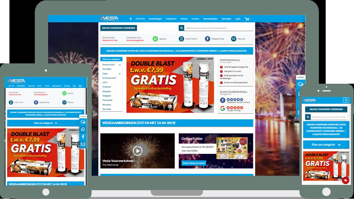 Vesta Vuurwerk website mobiel